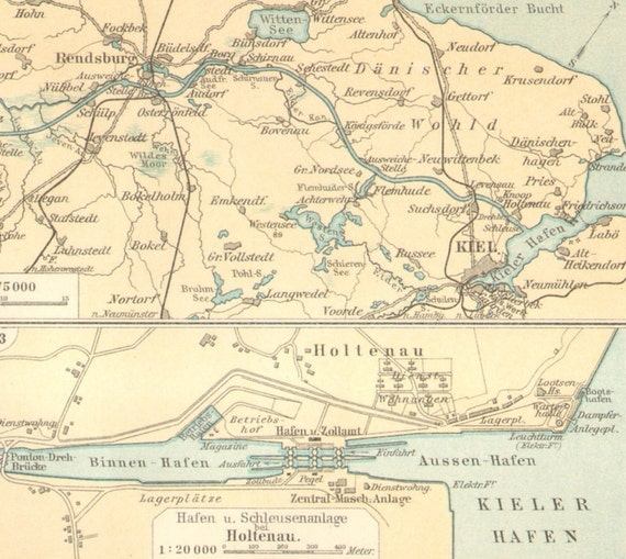1905 Original Antique Map of the Kiel Canal or