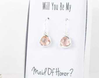 Tiny Champagne Silver Earrings, Light Peach Silver Earrings, Bridesmaid Gift, Wedding Jewelry, Bridesmaid Earrings, Bridal Accessories