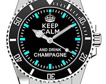Keep calm and drink champagne-wristwatch-watch 1355