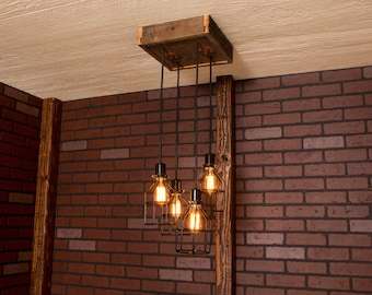 Industrial lighting, Industrial Chandelier, Black With Reclaimed Wood and 4 Pendants. R-1212-BC-4