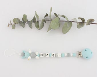 """Pacifier clip / pacifier clip / pacifier to chew beads silicone, personalized with baby's name, logo """"Nael"""" lapin"""