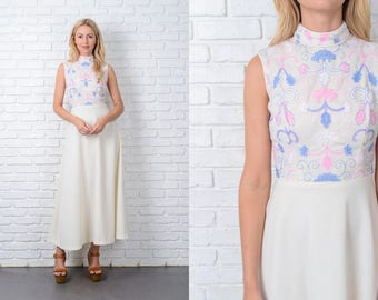 Vintage 70s Cream Maxi Dress Embroidered Pink Blue A line Mod Boho XS 9756 vintage dress cream dress pink dress a line dress mod dress