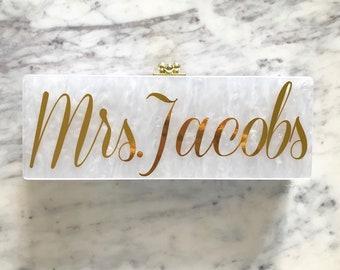 Acrylic Clutch, Box Clutch, Custom Mrs. Clutch, Bridal Clutch, Custom Bride Clutch, Mrs. Purse, Acrylic Purse, Bridesmaid Clutch