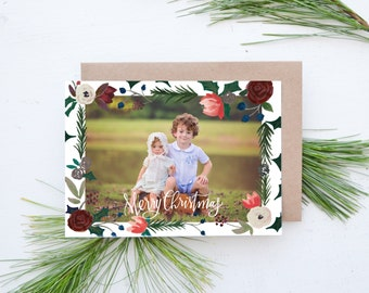 Floral and Pine Borders Photo Christmas Card