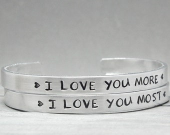Mother Daughter Cuffs, Mom Daughter Gift, Hand Stamped Jewelry, Mom Daughter Cuff,  Personalized Bracelet, Handstamped Jewelry Gifts For Mom