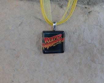 Broadway Musical Reefer Madness Glass Pendant and Ribbon Necklace