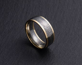 Stainless Damascus Steel and 18K Yellow Gold Mens wedding band Engagement ring Commitment ring Men's ring BD112