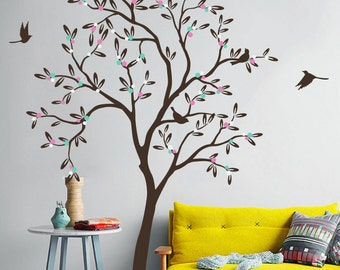 """Baby Nursery Tree Wall Decals Cute Tree Wall Decal Large Tree Wall Mural Sticker Wall Art Decor- Large: approx 85"""" x 54"""" - KC012"""