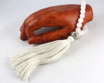 Quartz Wrist Mala, Mala Bracelet, Tassel Bracelet, Quartz Bracelet, Gemstone Bracelet, Wrist Mala, Wedding Bracelet, Yoga
