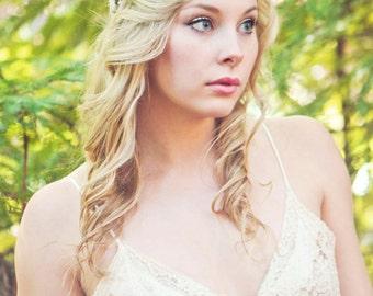 Flower crown, rustic head wreath, wedding headband, bridal hair, wedding crown, rustic wedding, woodland bridal floral wreath