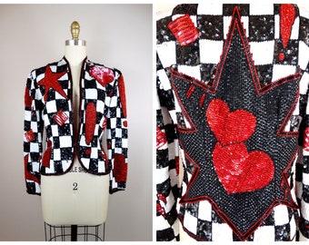 ESCADA Pop Art Sequin Jacket // Retro Black and White Sequined Beaded Jacket // Stars & Hearts Sequin Embellished Checker Jacket 34 36
