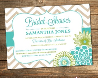 Wedding Shower Invitation, Bridal Shower Invitation, Chevron, Floral, Aqua, Blue, Lime Green, Printable Invitations