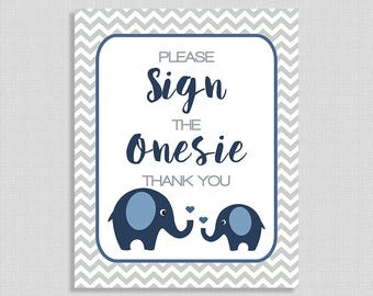 "Navy Elephant Sign The Onesie Baby Shower Sign, Navy & Grey Baby Shower Table Sign, ""Please Sign The Onesie"" INSTANT PRINTABLE"
