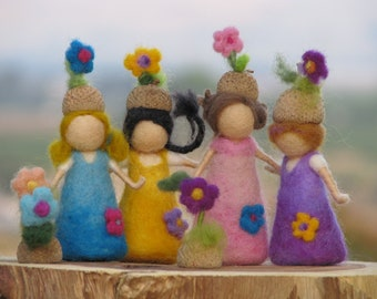 Waldorf inspired Needle felted little acorn friends