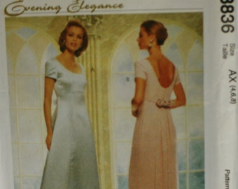 McCall's 8836 Misses 8836 Formal Dress with Detachable Train New Uncut Size 4, 6, 8