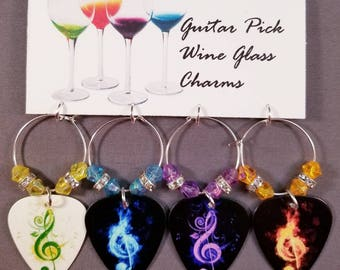 """Guitar Pick Wine Glass Charms """"G-Clefs"""""""
