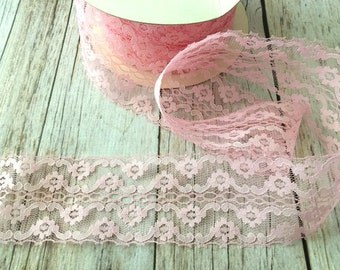 5 yard pink lace trim 2 1/2 inch width