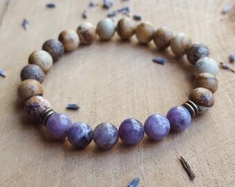 Lepidolite Stone Bracelet Heart Chakra Bracelet 4th Chakra Lepidolite Jewelry Gemstone Bracelet Yoga Bracelet Healing Stone Crystal Bracelet