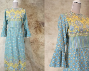 70s Hippie Dress, 1970 Boho Dress, Paisley Dress, Bohemian Dress, Vintage Maxi Dress, Baby Blue Dress,  Festival Dress, Size S, Small