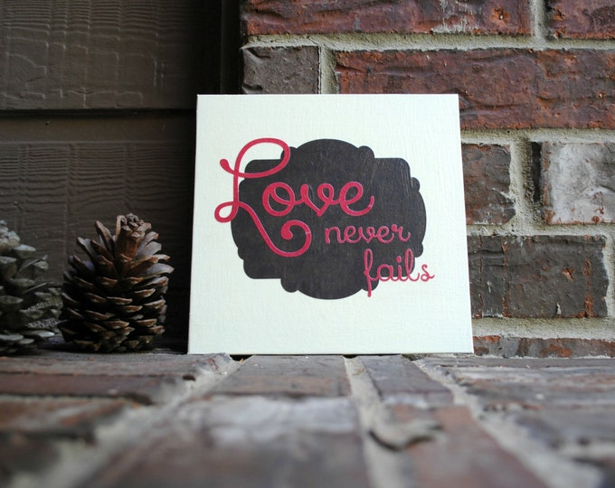 """Featured listing image: Love never fails on 8""""x8"""" Canvas Panel"""