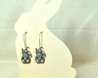 Gray Bunny Earrings Shadow and Smokey- Rabbit Jewelry - Pet Bunny Rabbit - Rabbit Earrings - Bunny Jewelry - Woodland Animal - Cute Bunny
