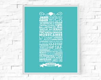 "Printable UK Seaside Resorts Digital Print - Instant Download - British Coast - Beach Theme  - Wall Decor - Beach Poster - 8""x10"" & A4"