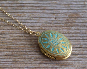 Gold Fill Necklace, Aqua Brass Locket Necklace, Small Aqua Blue Gold Locket, Dainty Necklace, Art Deco Locket, Mother's Day, Mother Gift