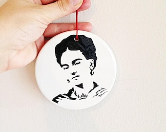 Frida Kahlo Hand Painted Ceramic Christmas Ornament Day of the Dead