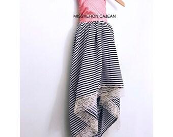 Pink sequin and stripes bohemian layered boho flower girl rustic junior bridesmaid toddler maxi hi low dress