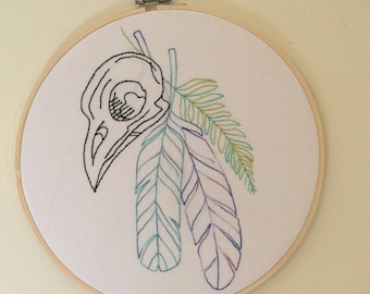 Bird Skull with Feathers Embroidery Hoop Art