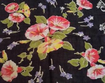 Vintage Ladies Handkerchief with Pink Morning Glories