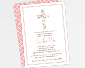 Baptism Invitation, Christening Invitation, Girl Baptism, Printable Baptism Invitation, PDF, Flowers, Floral, Watercolor, Pink, Lorelai