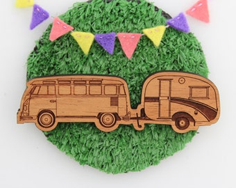 Wood laser cut brooch Cosy vintage Caravan/Kombi combo natural wood finish