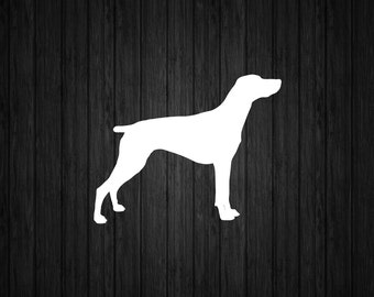 German Shorthaired Pointer Dog Silhouette Custom Die Cut Vinyl Decal Sticker - Choose your Color and Size