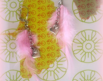 EARRINGS pink feathers and hearts... country style