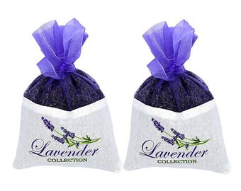2 Packs of Extra Large French Lavender Sachet 1.7 Ounce Each - Cozy Pouch Filled with Dried Lavender Flower Buds - Naturally Scent Fragrance