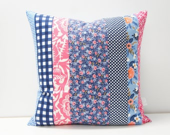 Pillow Cover - Patchwork Pillow Cover, 20x20, navy and pink, floral, rifle paper co.
