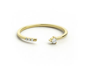 Diamond Open Ring in 14k Solid Gold, Diamond Stacking Ring, Promise Ring, Friendship Ring, Gift for Her