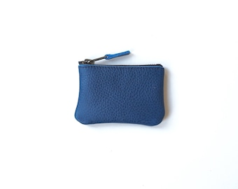 Coin Purse Leather / Blue Ethical / Mini Wallet / Recycled Leather