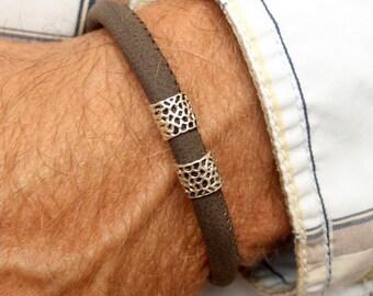Men leather bracelet Karen hill tribe silver beads brown trendy ajustable man wristband gift