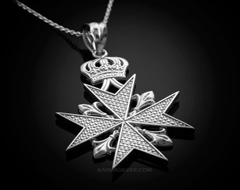 pendant white necklace polished maltese cross gold