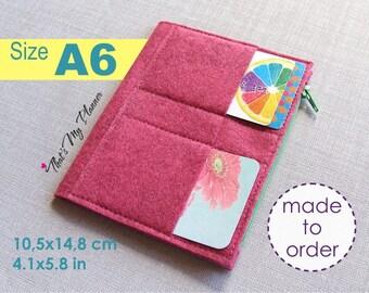 Traveler's Notebook insert A6 size - Felt Zip Up Wallet Card Holder - Pencil Case - Midori Insert