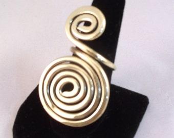 Big Brass Ring ,Spiral Ring