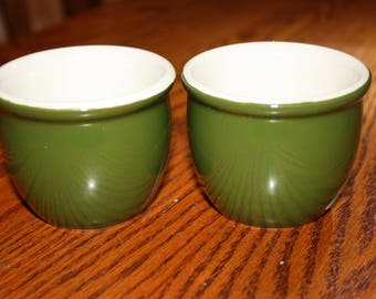 2 Hall Pottery Custard Cups Made in USA- Restaurant Ware