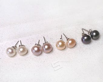 On Sale!! 9-10MM Real Pearl In Sterling Silver Earrings Set, 4 Color Sets FreshWater Pearls In 925 Silver Stud Earrings, Bridalmaids Gift