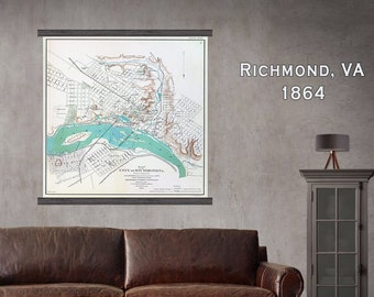 "Richmond Virginia. Vintage RICHMOND, VA, Large Map, Hanging Map, 44""w x 48""h, Wall Chart, Antique Wall Map"