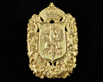 Vintage Signed Miriam Haskell Heraldic Brooch / Pin in Russian Gilt Finish