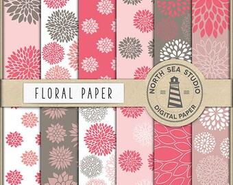BUY5FOR8 Floral Digital Paper Floral Paper Flower Patterns Digital Scrapbooking 12 JPG 300 DPI Files Commercial Use Instant Download