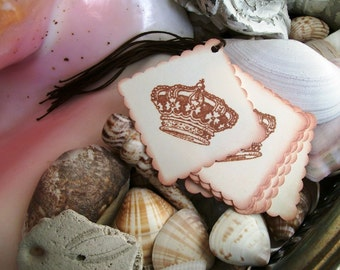 Tags- Sepia Crowns-Shabby-French Style-Square