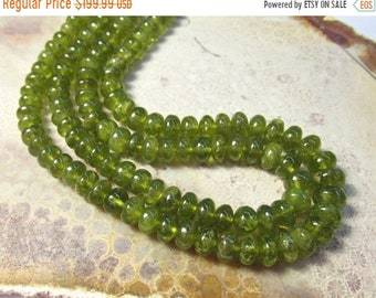 SALE Rare Vesuvianite Idocrase Rondelle Beads 8mm 9mm7mm , 18 Inch Strand,  Natural Green Gemstone